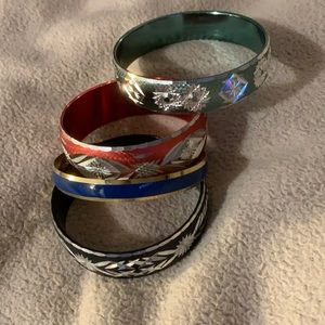 Set of Gorgeous Metal etched bangles